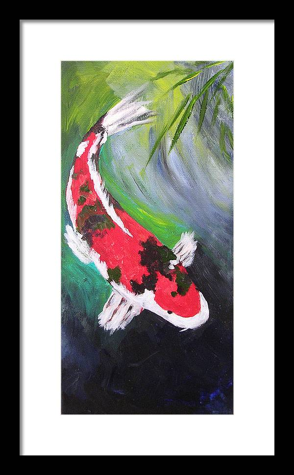 Koi Framed Print featuring the painting Tricolored Koi by Barbara Harper