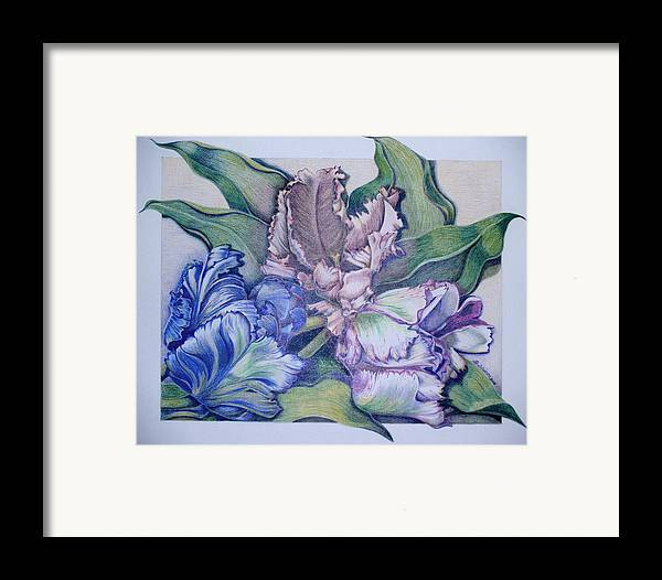 Prismacolor Framed Print featuring the painting Trilogy by Joyce Hutchinson