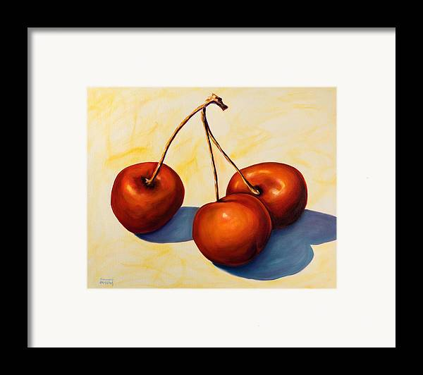 Cherries Framed Print featuring the painting Trilogy by Shannon Grissom