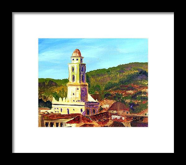 Cuban Painting Framed Print featuring the painting Trinidad Church Cuba by Maria Soto Robbins