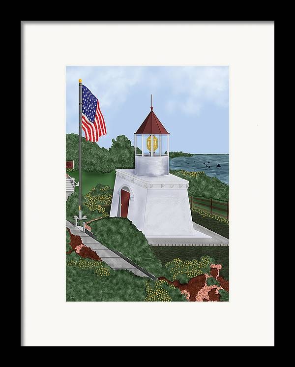 Trinidad Memorial Framed Print featuring the painting Trinidad Memorial Lighthouse by Anne Norskog