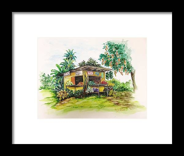 Caribbean Parlor Framed Print featuring the painting Trinidad Roadside Vendor by Karin Dawn Kelshall- Best