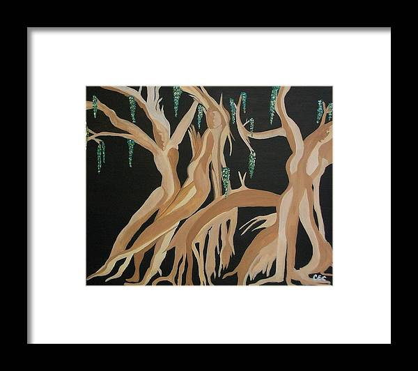 Feminine Framed Print featuring the painting Trinity  The Banyan Tree by Carolyn Cable
