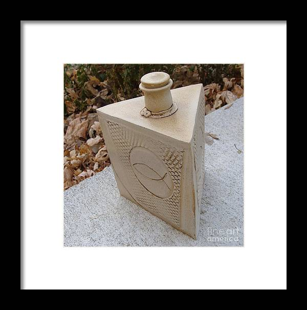 Ceramic Clay Vessel Framed Print featuring the ceramic art Trinity by Christine Belt