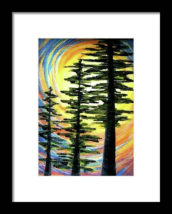 Cedars Framed Print featuring the painting Trinity by Pam Ellis