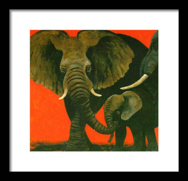 Elephants Framed Print featuring the painting Trio by Christine McGinnis
