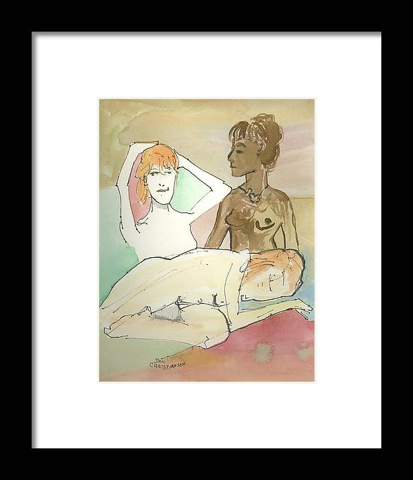Female Framed Print featuring the painting Trio Mocha by James Christiansen