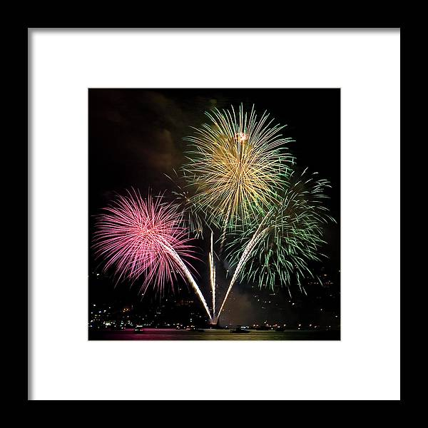 Fireworks Framed Print featuring the photograph Triple Color by David Patterson
