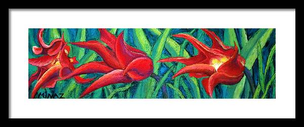 Tulips Framed Print featuring the painting Triple Tease Tulips by Minaz Jantz