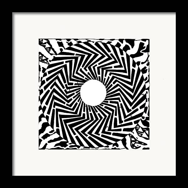 Swirly Framed Print featuring the drawing Trippy Optical Illusion Swirly Maze by Yonatan Frimer Maze Artist