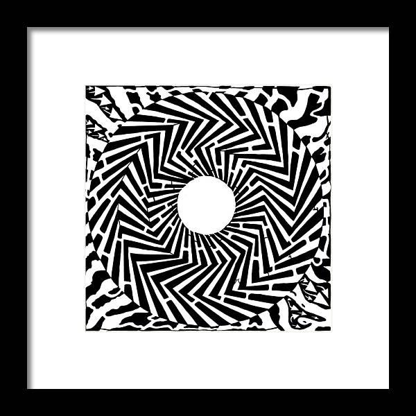 Swirly Framed Print featuring the drawing Trippy Optical Illusion Swirly Maze by Yonatan Frimer Maze Artist