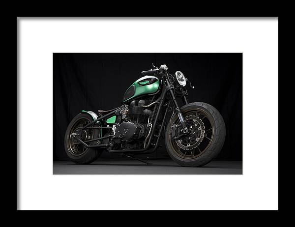 Triumph Framed Print featuring the photograph Triumph Green Bobber by Keith May