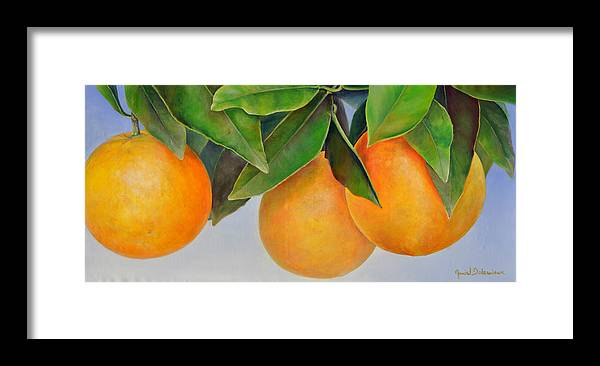 Floral Painting Framed Print featuring the painting Trois Oranges by Muriel Dolemieux