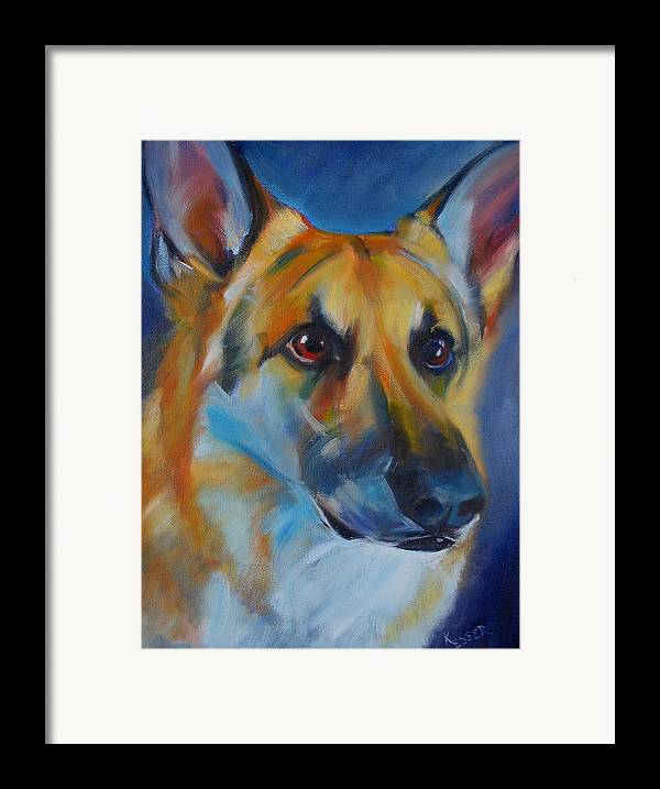 Shepherd Framed Print featuring the painting Trooper by Kaytee Esser