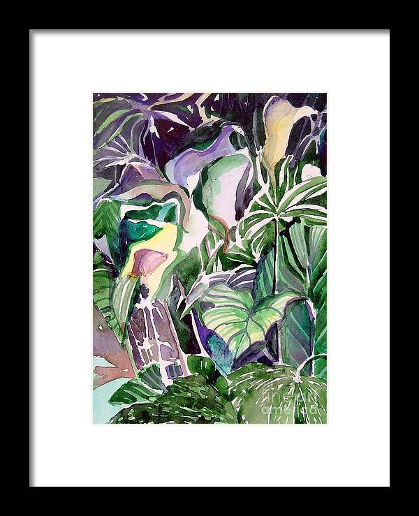 Botanicals Framed Print featuring the painting Tropic Lights by Mindy Newman