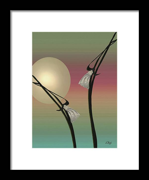 Contemporary Asian Japanese Oriental Abstract Design Moon Peaceful Graceful G. Framed Print featuring the painting Tropic Mood by Gordon Beck