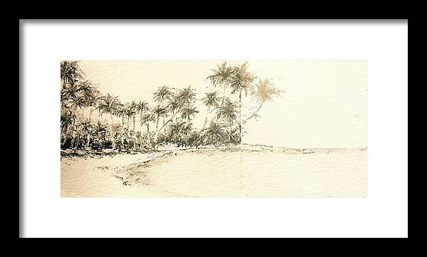 Anthony Fishburne Framed Print featuring the drawing Tropical Beach Drawing by Anthony Fishburne