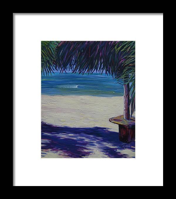 Ocean Framed Print featuring the painting Tropical Beach Shadows by Karen Doyle