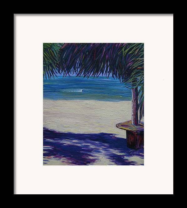 Ocean Framed Print featuring the painting Tropical Beach Shadows by Karen Doyle
