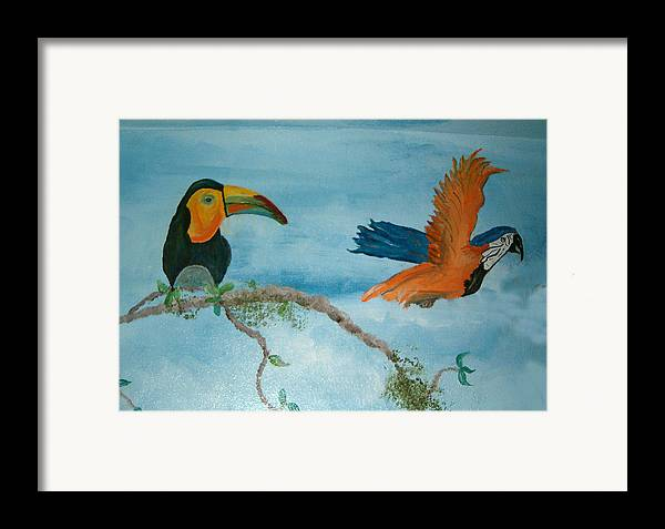 Tropical Birds Framed Print featuring the painting Tropical Birds by Mikki Alhart