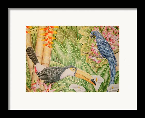 Lanscape Tropical Flower Bird Framed Print featuring the drawing Tropical Dream by Jubamo