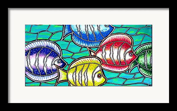 Fish Framed Print featuring the painting Tropical Fish Swim by Jim Harris