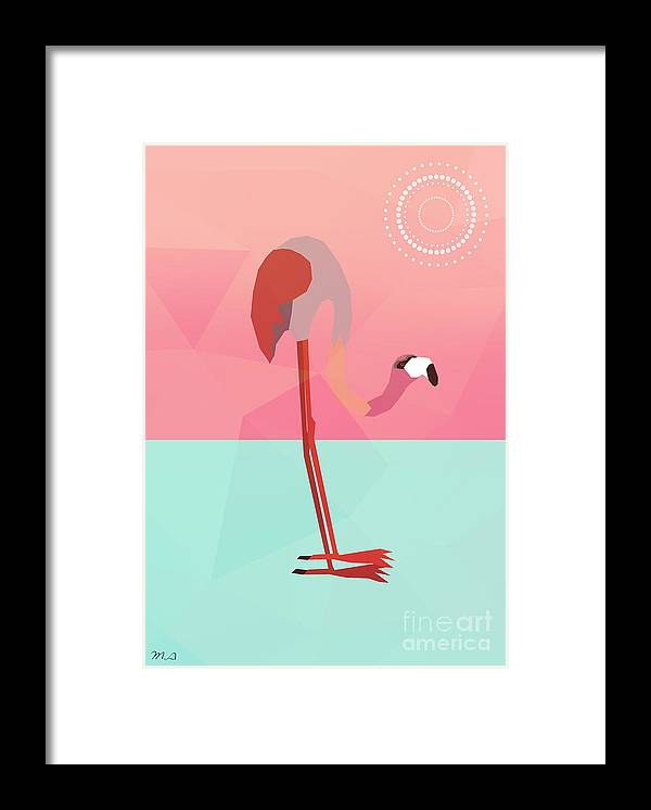 Flamingo Framed Print featuring the digital art Tropical Flamingo by Mark Ashkenazi