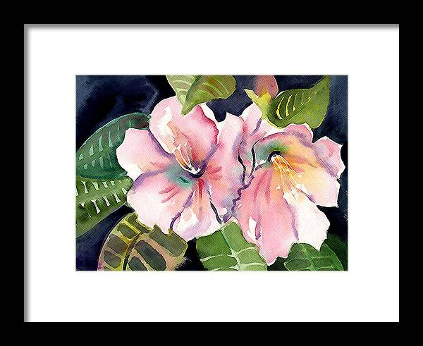 Tropical Framed Print featuring the painting Tropical Flowers by Janet Doggett