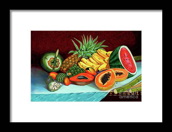 Coconut Framed Print featuring the painting Tropical Fruits by Jose Manuel Abraham