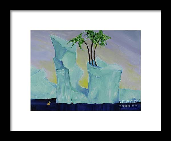 Landscape Framed Print featuring the painting Tropical Getaway by Katherine Fishburn