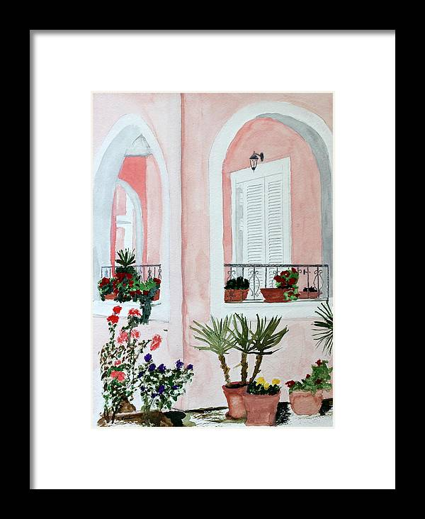 Home Tropical Island Southern Shutters Porch Plants Palms Flowers Framed Print featuring the painting Tropical Home by Cathy Jourdan