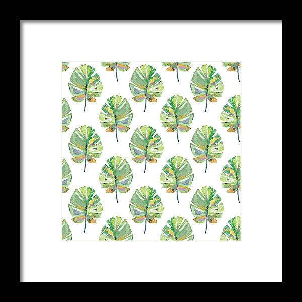 Tropical Framed Print featuring the mixed media Tropical Leaves On White- Art By Linda Woods by Linda Woods