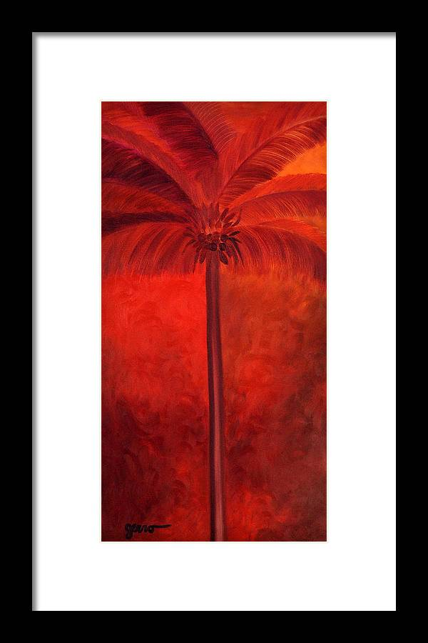 Palm Artwork Framed Print featuring the painting Tropical Mango Palms by Helen Gerro
