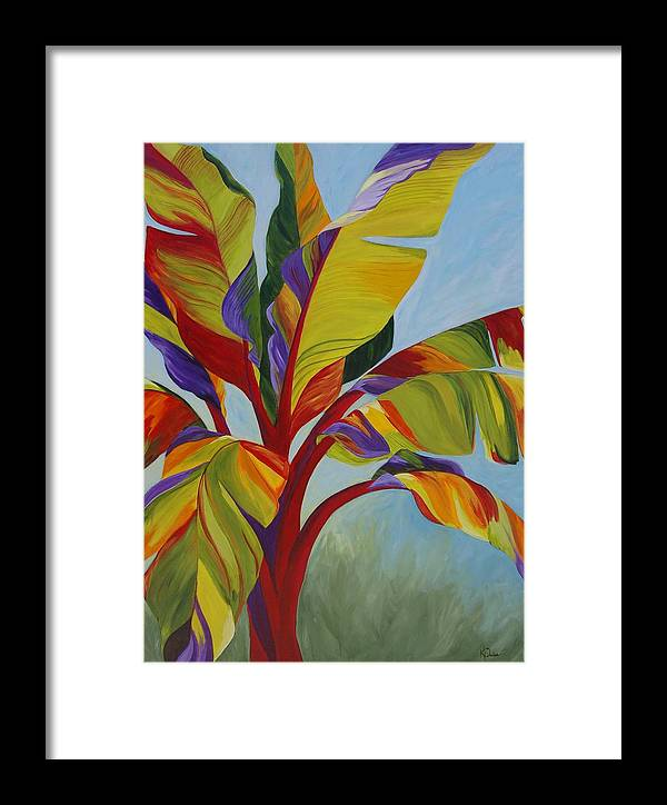 Abstract Framed Print featuring the painting Tropical Mist by Karen Dukes