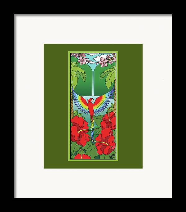 Tropical Framed Print featuring the digital art Tropical Paradise by Eleanor Hofer