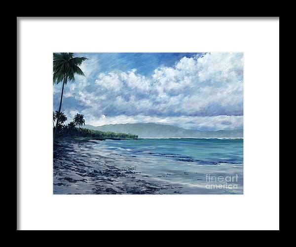 Seascape Framed Print featuring the painting Tropical Rain by Danielle Perry