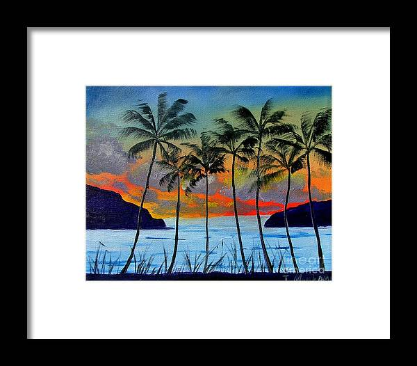 Sunset Framed Print featuring the painting Tropical Sunset by Inna Montano