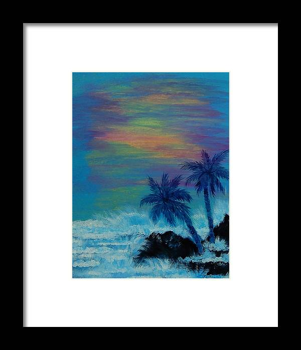 Palm Trees Framed Print featuring the painting Tropical Sunset by Karen Lee
