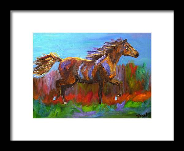 Horse Framed Print featuring the painting Trotting by Mary Jo Zorad
