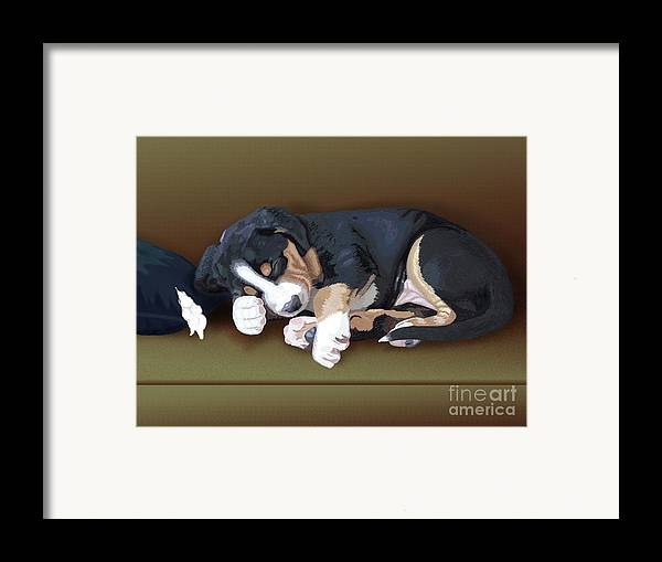 Dog Framed Print featuring the painting Trouble by Jacqueline Barden