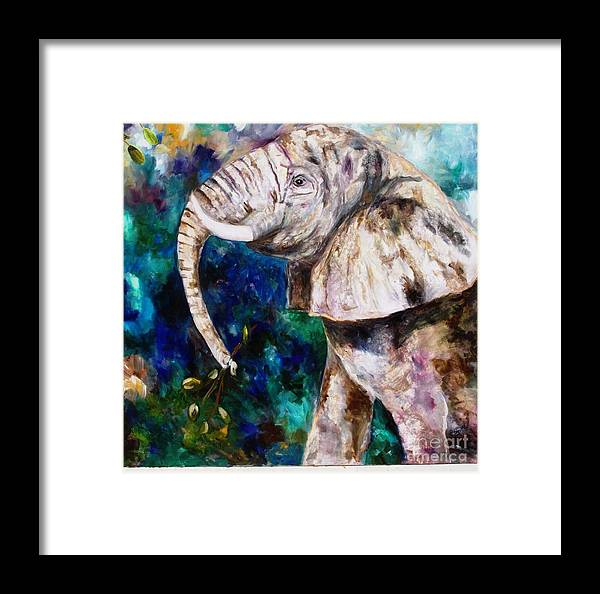 African Elephant Framed Print featuring the painting Trouble by Pamela Squires