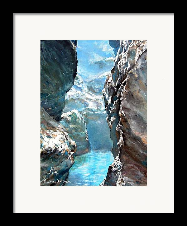 Landscape Framed Print featuring the painting Trouee 3 by Muriel Dolemieux