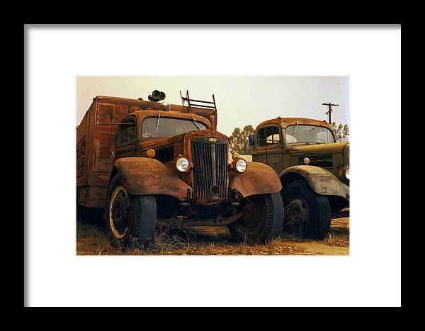 Smoke Trucks Perris Museum Military Old Texture Fire Framed Print featuring the photograph Trucks Under Smoke by Lawrence Costales