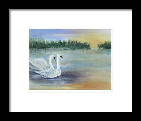 Coastal Pond Scape Framed Print featuring the painting True Love by Shirley Lawing