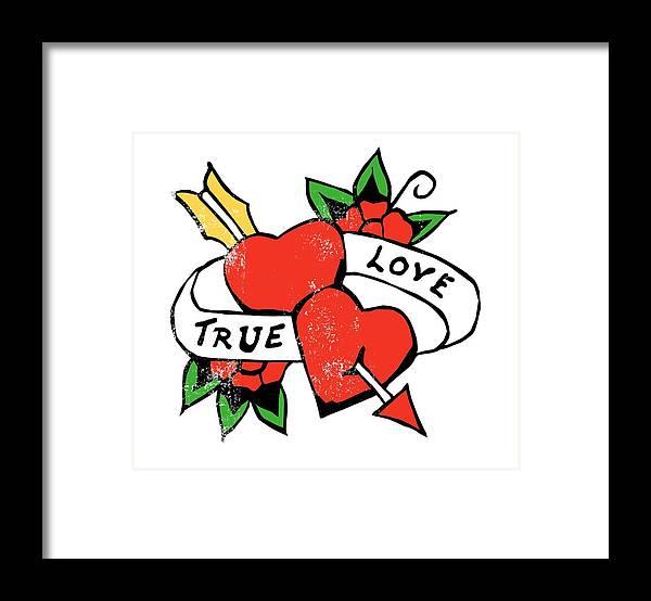 Tattoo Framed Print featuring the digital art True Love Tattoo by Bob Newman