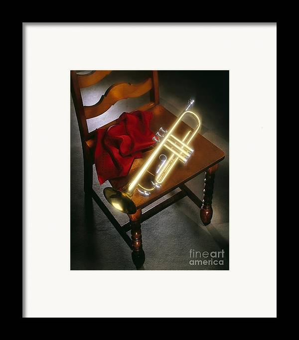 Trumpet Framed Print featuring the photograph Trumpet On Chair by Tony Cordoza