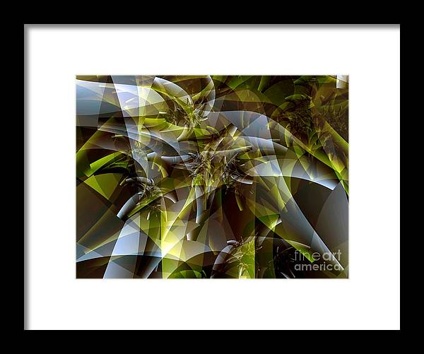Fractal Art Framed Print featuring the digital art Trunks In Green And Gray by Ron Bissett