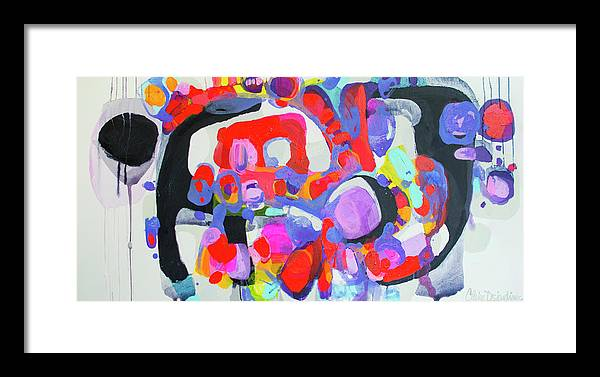 Abstract Framed Print featuring the painting Try Me by Claire Desjardins