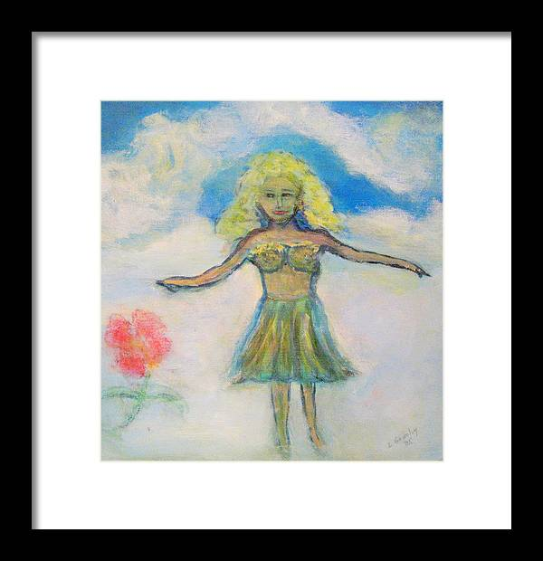 Angel Framed Print featuring the painting Tsunami Angel by Lessandra Grimley