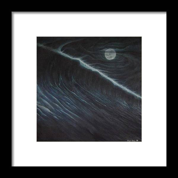 Seascapes Framed Print featuring the painting Tsunami by Angel Ortiz